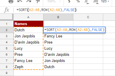 SORT ROW: Google Sheets