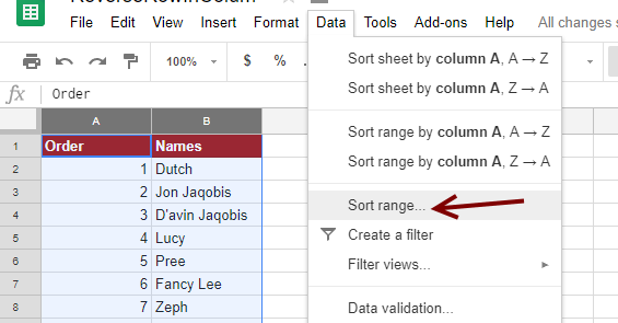 Sort Range - Google Sheets
