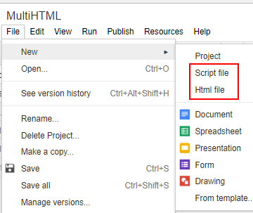 Project File Types - Google Apps Script