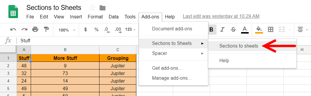 Open Sections to Sheets Add-on for Google Sheets