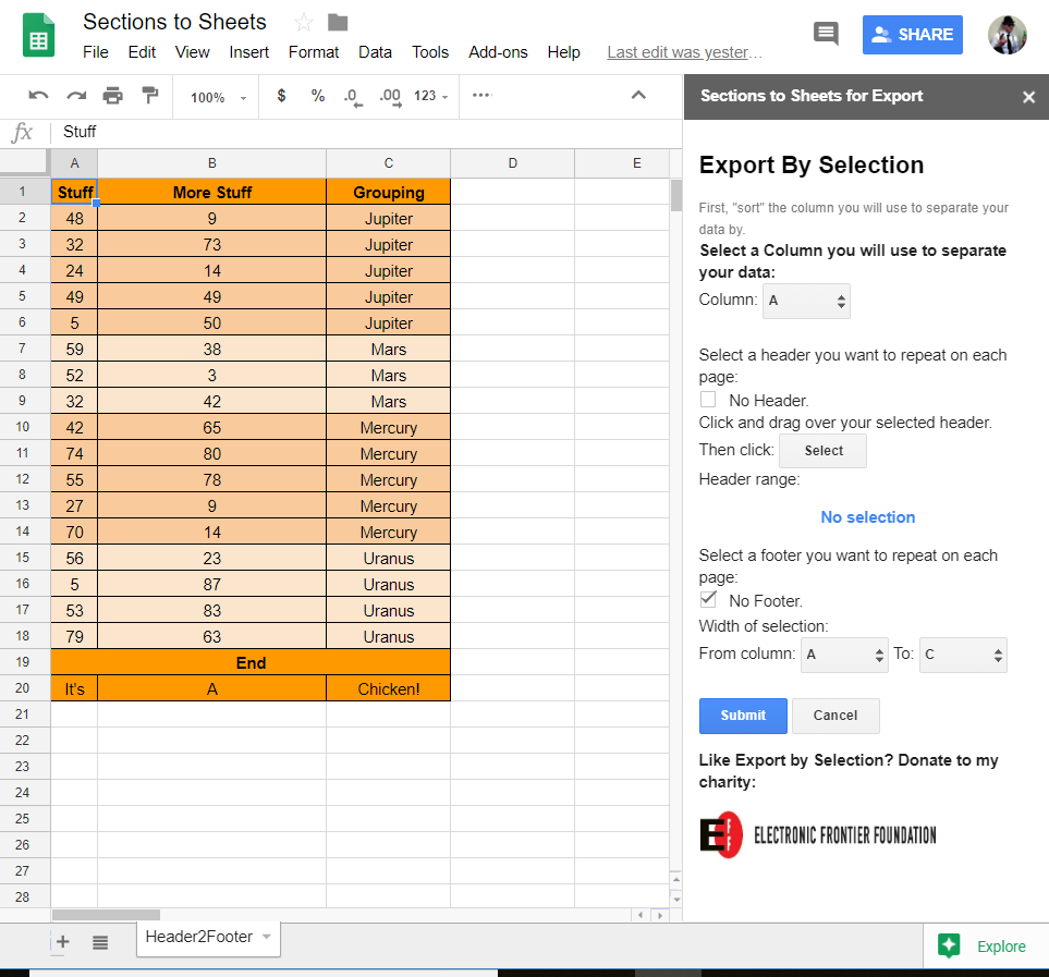 Sections to Sheets Sidebar for Google Sheets