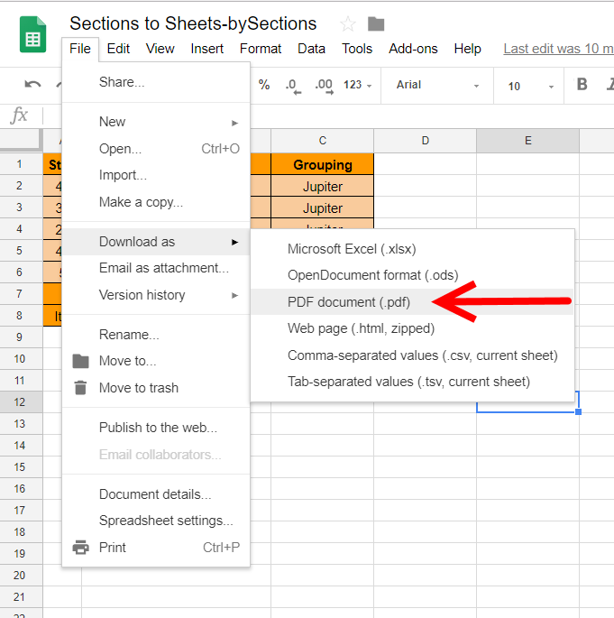 Exporting Sections to Sheets as a PDF document.