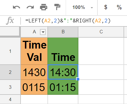 LEFT and RIGHT formulas Google Sheets