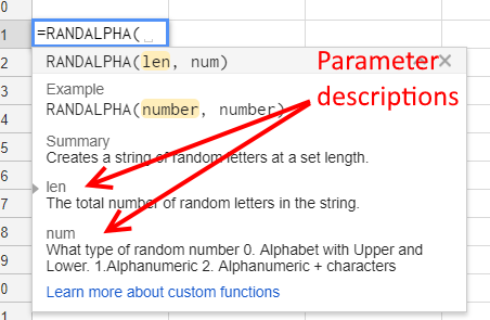 Custom Function Parameter Descriptions - Google Sheets