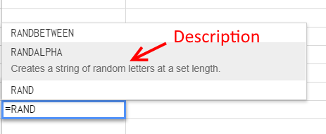 Custom Function Description - Google Sheets
