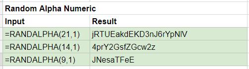 Random Alphanumeric Google Sheets
