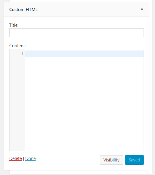 Add Custom HTML here - WordPress