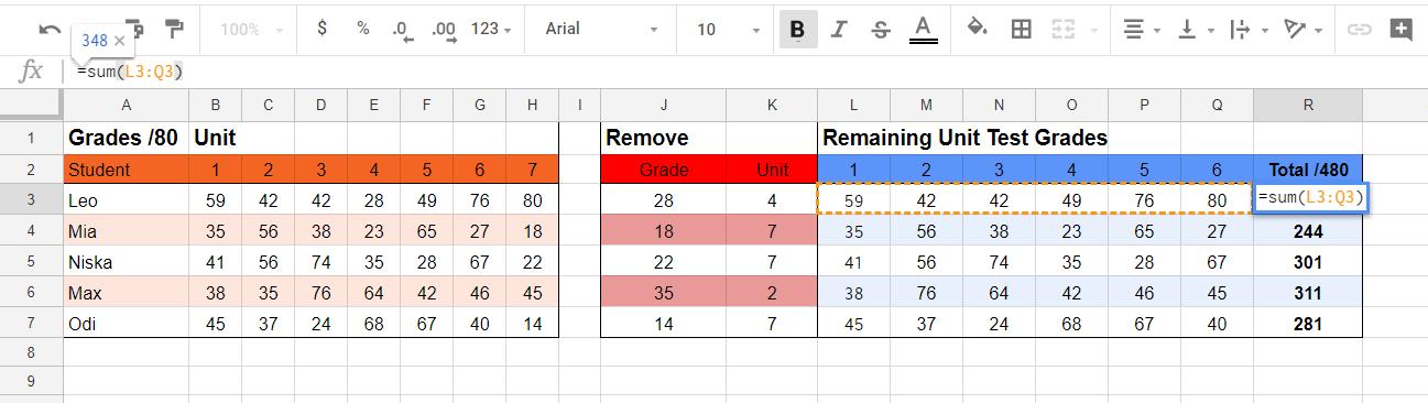 SUM - Google Sheets