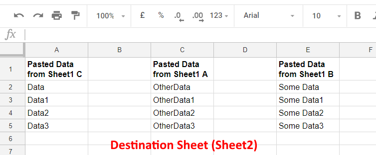 DestinationSheet - Google Sheets