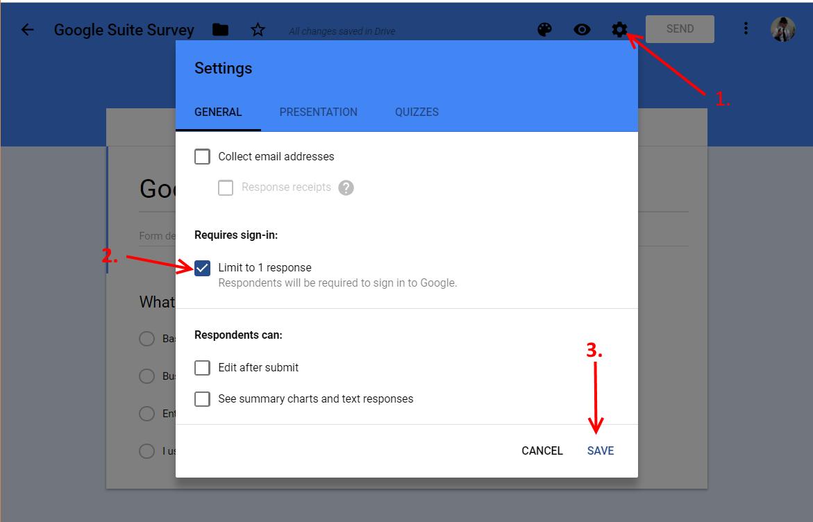 Google Form Edit Settings