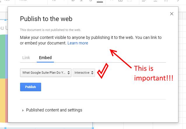 Publish Google Sheet Chart to the Web