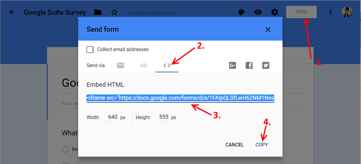 Google Form Get Embed HTML