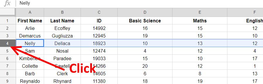 row select - Google sheets