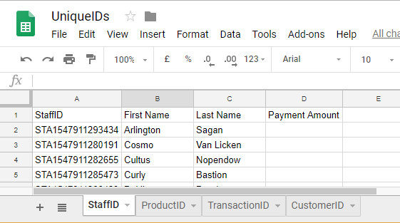 uniqueID DateTimestamp Google Sheets