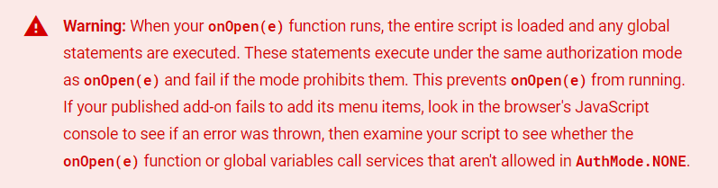 Google Apps Script onOpen AuthMode None