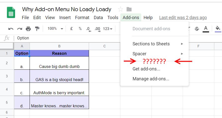 Missing Add-on Google Apps Script