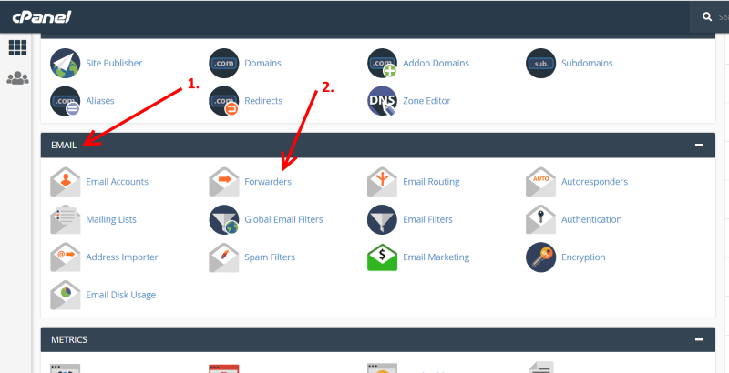 cpanel mail forwarder