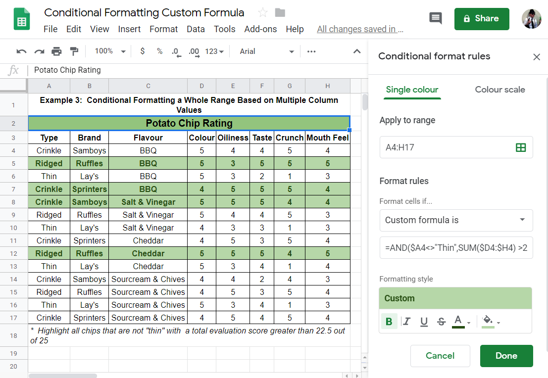 Conditional Format Entire Row Google Sheets with functions