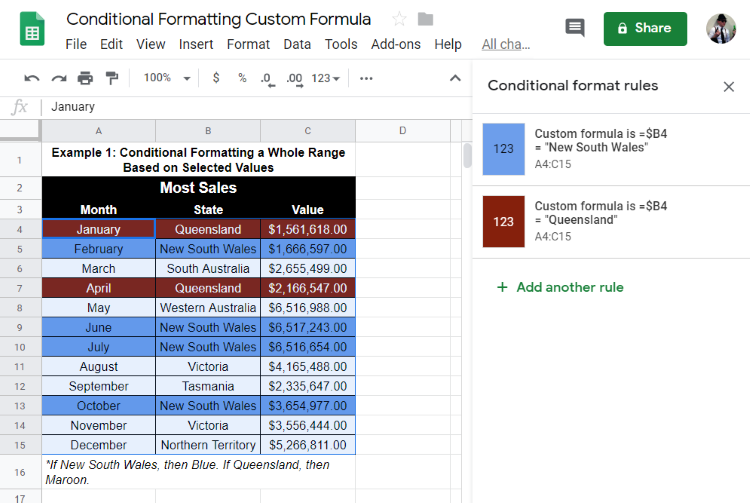 Google Sheets: Conditional Formatting with Custom Formula