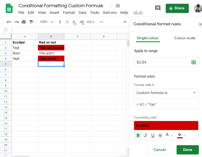 Google Sheets: Conditional Formatting with Custom Formula - Yagisanatode