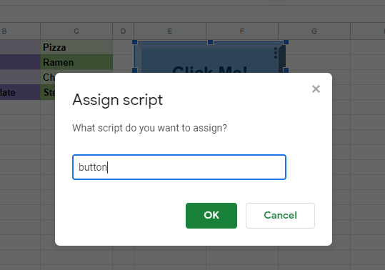 Google Sheets Buttons assign script