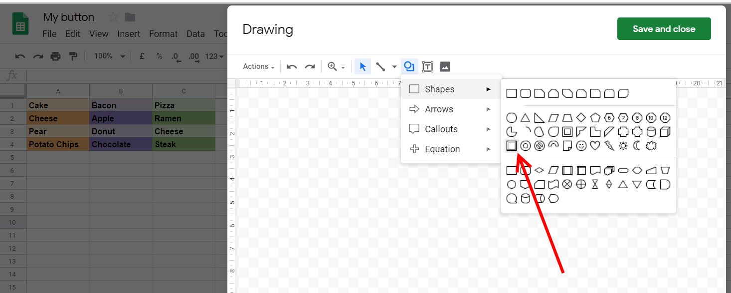 Google Sheets bevel shape