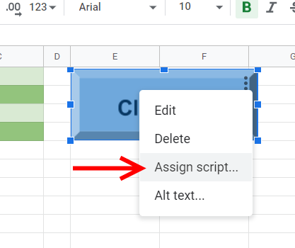 Google Sheets button assign script