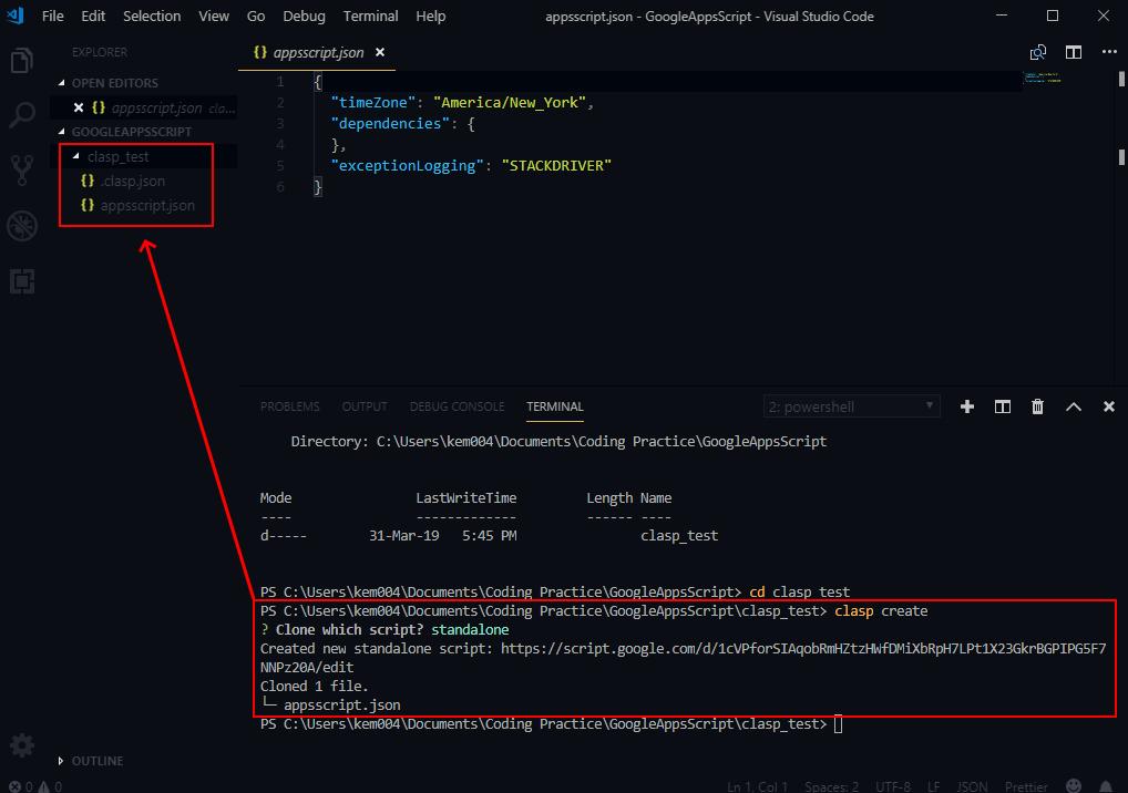 clasp create in VS Code