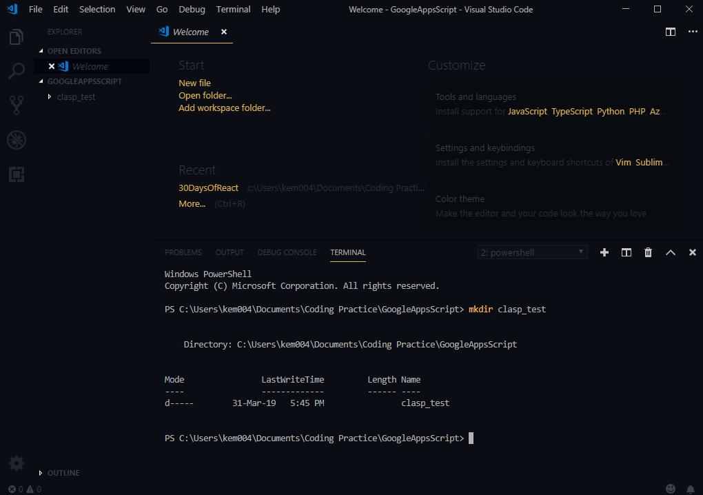 visual studio code make a directory