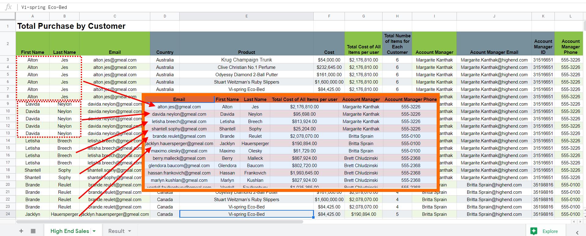 Google Apps Script: Getting Selected Google Sheets Columns
