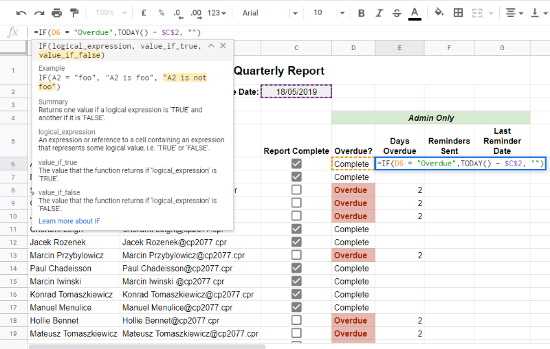 Google Sheets: How to create a task completion check sheet