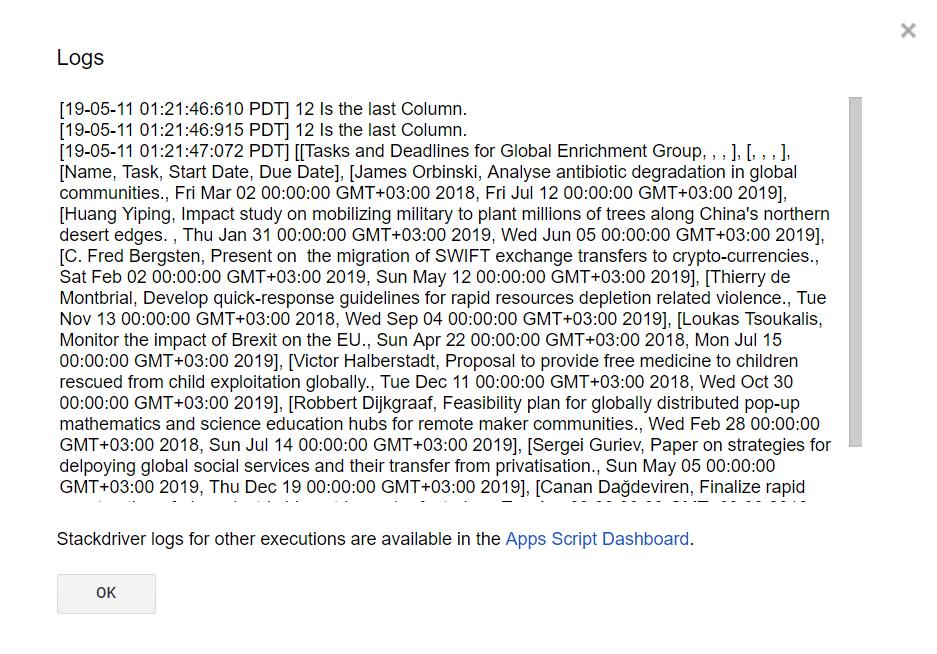 Google Apps Script getDataRange getLastRow