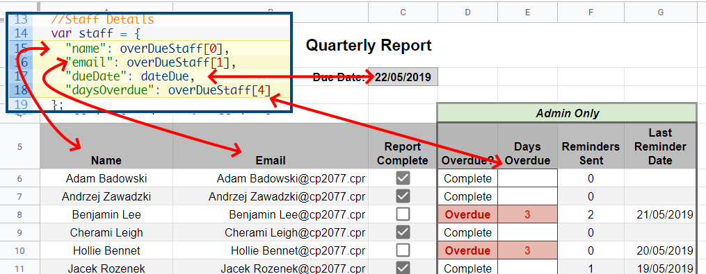 Google Apps Script Object reference in Google Sheet rows