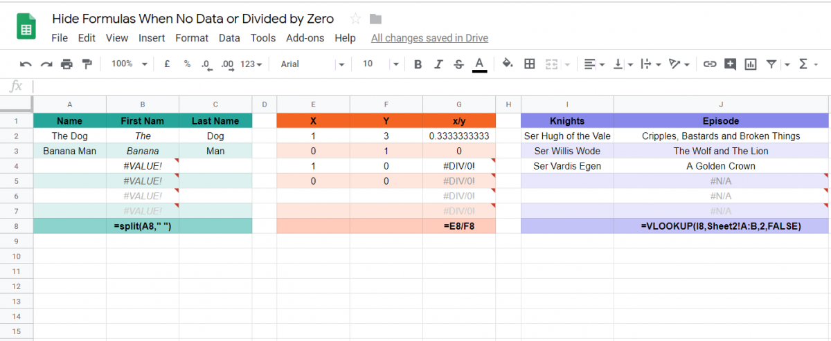 Google Sheets: How to hide formula error warnings where there is no data or the data divides by zero