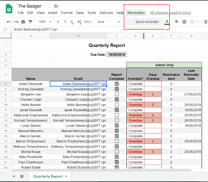the badger Google Sheet