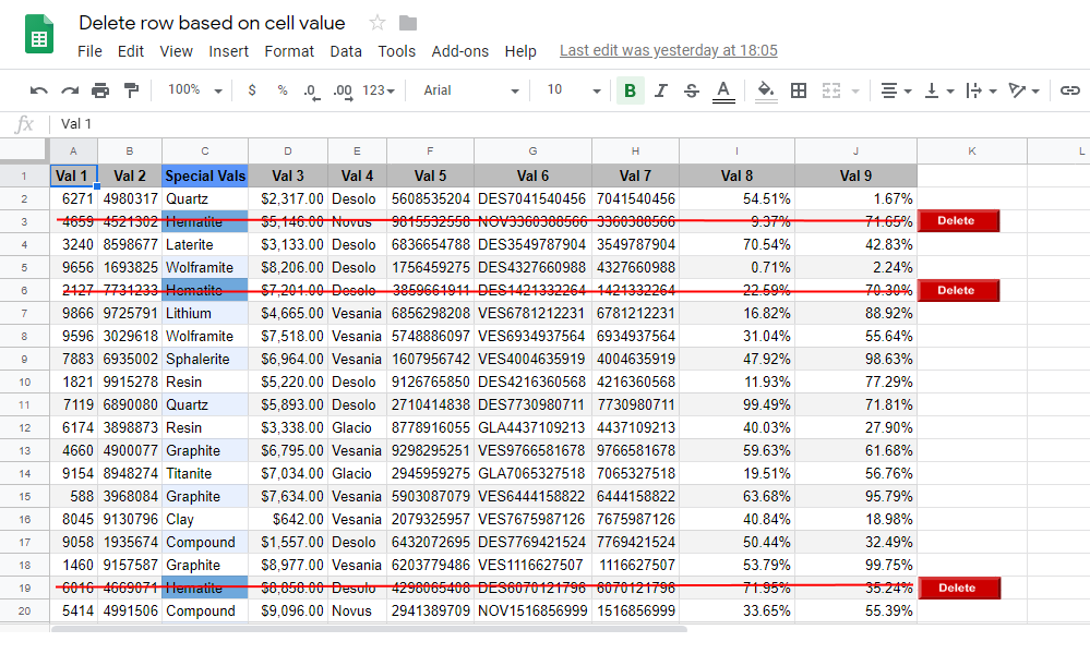 Google Apps Script: Delete Rows Based on a Column's Cell Value in Google Sheet
