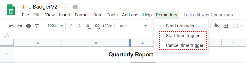 Google Apps Script Custom Menu Item for triggers in google Sheets