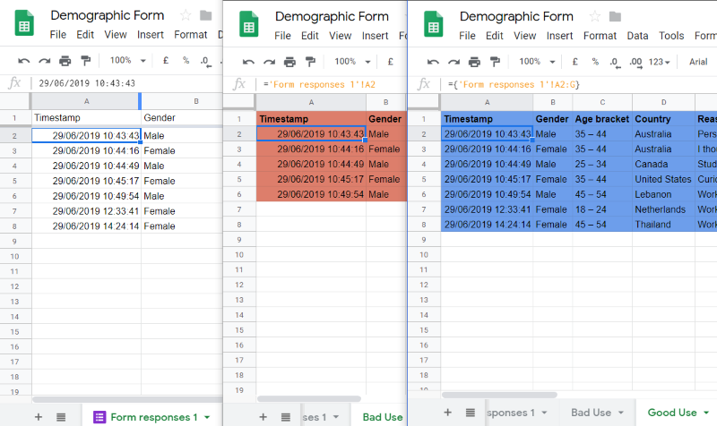 My live Google Form response in Google Sheets won't update in another Sheet Tab that references them. What do I do?