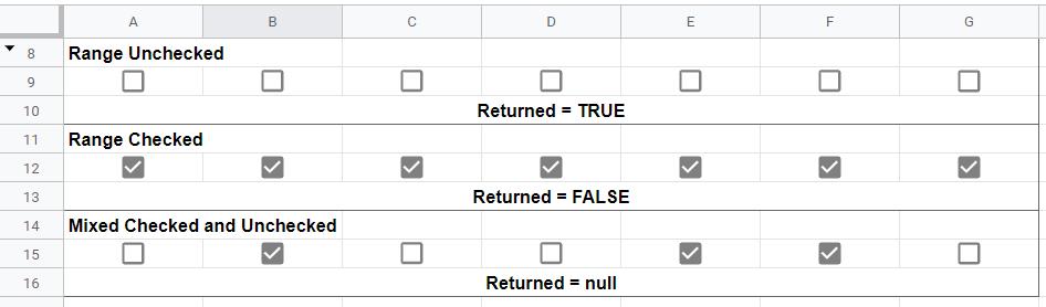 Google Sheet isChecked range test