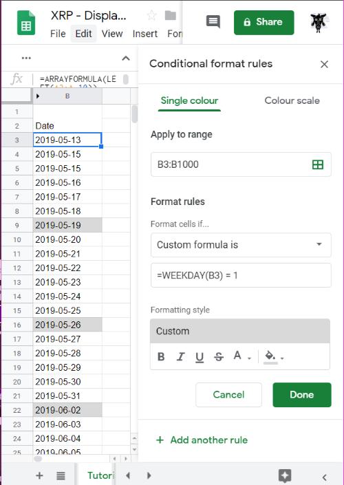 Google Sheets Conditinal formatting with WEEKDAY