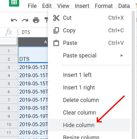 Google sheets- Hide Column
