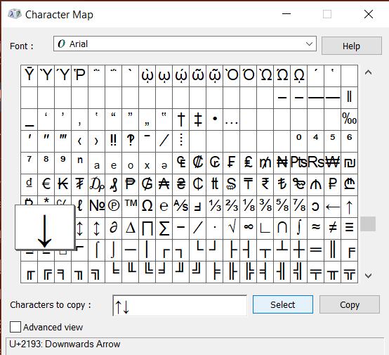 Windows 10 Character Map