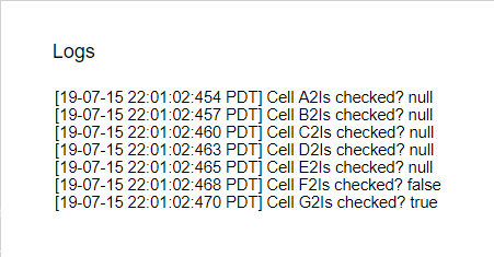 isChecked test log Google Apps Script