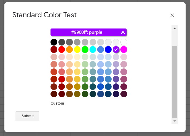Google Apps Script Color Picker Dialog Box Prompt