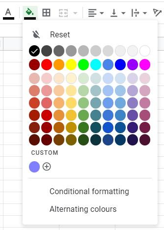 Google Sheets Color Palette