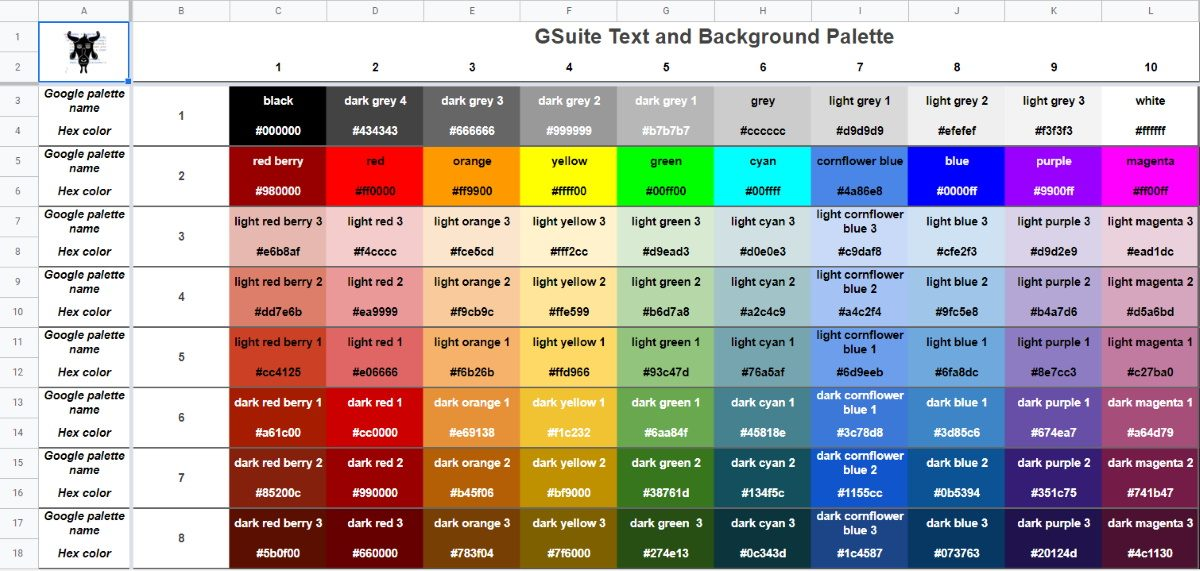 Google Apps Script: Hexadecimal Color Codes for Google Docs, Sheets and Slides Standard Palette