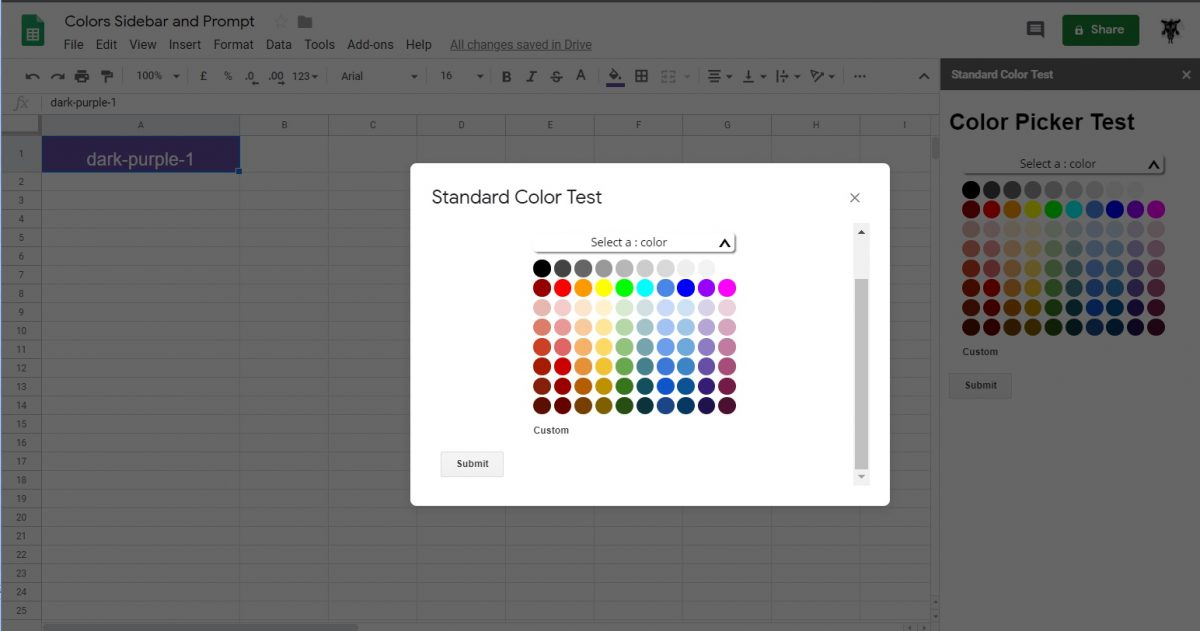 Google Apps Script: Google Standard Color Palette Picker for Sidebar and Dialog Boxes in Google Sheets, Google Docs  and Google Slides