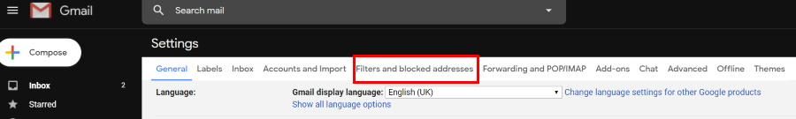 Gmail- Filters and blocked addresses
