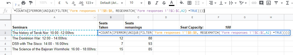 COUNTA IFERROR UNIQUE FILTER REGEXMATCH Google Sheets