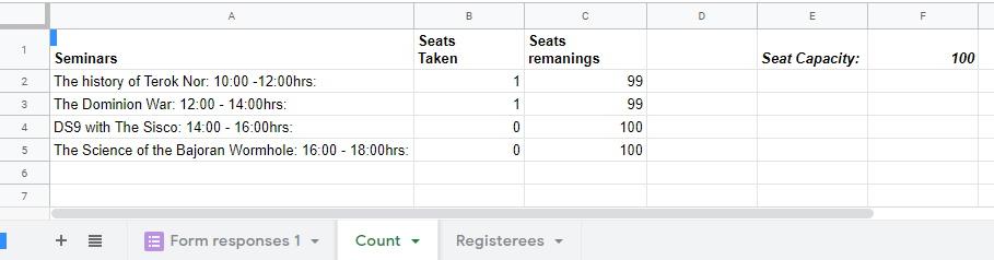 Calculating the remaining seats Google Sheets